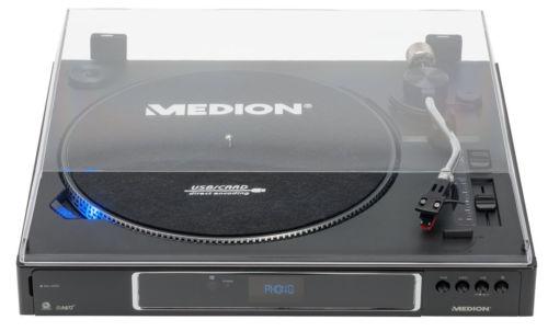 MEDION LIFE P67006 vollautomatischer Plattenspieler USB Umwandlung MP3 SD 33/45U