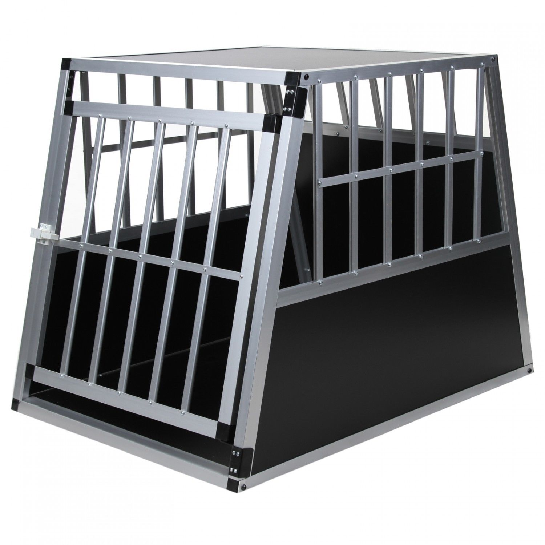 Alu Hundetransportbox L - XL Gitterbox Autobox mit geneigter Rückseite Reisebox