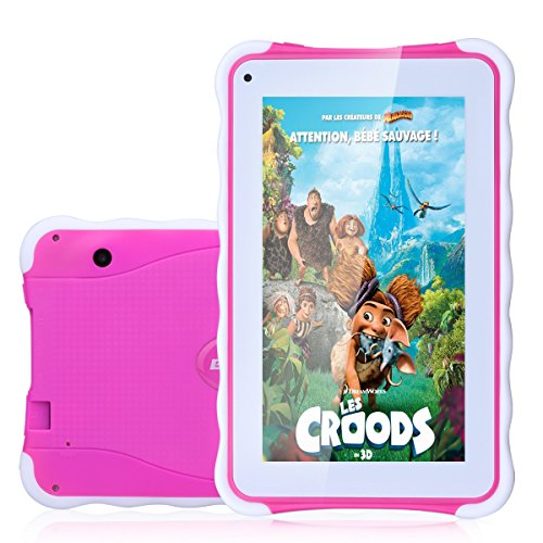 Excelvan 7 Zoll Kinder Tablet PC Android 4.4.4 1.3GHz Quad Core 8GB ROM Speicher WIFI Tablet für Kids Pink