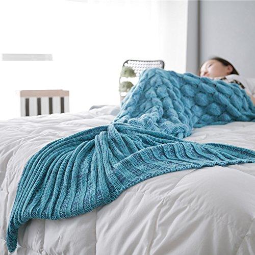 Strick Meerjungfrau Schwanz mit Skala, die alle Jahreszeiten Decke Quilts, Neuheit Weihnachten Meerjungfrau Decke für Erwachsene und Kinder blau