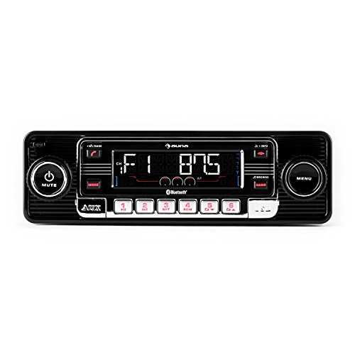 auna RMD-Sender-One • Autoradio • Car-Radio • Car-HiFi-Set • Bluetooth-Schnittstelle • USB-Slot • SD/MMC-Slot • UKW-Radiotuner • MP3 • 3,5mm-Klinke-AUX-Eingang • Stereo-Cinch-Line-Ausgang • Freisprechanlage • abnehmbares Bedienteil • Retro-Look • schwarz