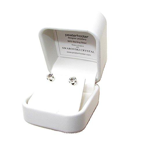 pewterhooter 925 Sterling Silber Ohrstecker Ohrringe handgefertigt mit funkelnden weiß wie ein Diamant Kristall aus SWAROVSKI®. Luxus geschenk-box.