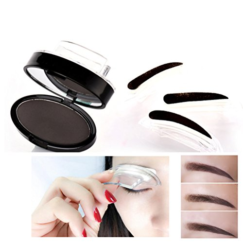 Frcolor Eye Brow Stempel Pulver 3 Formen in 1 Packung perfekte Augenbraue macht Dichtung Natur Eye Brow Pulver (Tiefe Kaffee)