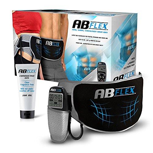 Ab Flex Ab stärkerungs Gürtel für schlank starke Bauch Muskeln - keine Ersatz-Pads notwendig, nie - Handliche Fernbedienung für schnelle und einfache Anpassungen - 99 Intensitätsebene und 10 Programme für schnelle Ergebnisse - Batterien enthalten - Lebens