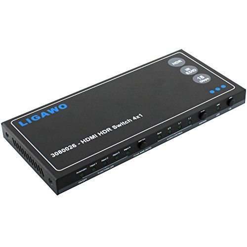 HDMI HDR Switch 4x1 - 18Gbps 4K 60Hz 4:4:4 EDID Audio + Audio Out SPDIF oder 3,5mm Klinke | RS232 Softwaresteuerung möglich + Fernbedienung