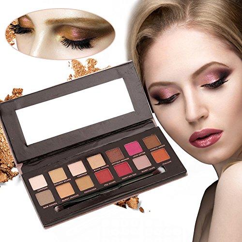 Lidschatten, Lidschatten Palette 14 Farben Lidschatten-Palette,Lidschattenpalette,Profi Augenpalette Makeup Eyeshadow Kosmetik + Pinsel