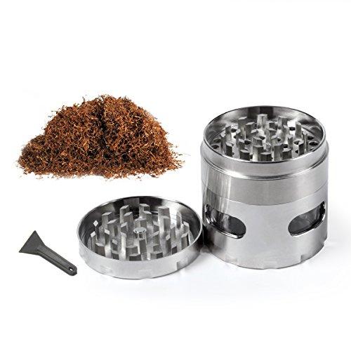 Pollen Grinder Crusher für Tabak, Elebor Portable Zink Alloy Herb Grinder mit Pollen Scraper und Magnetic Top für trockene Kräuter Tabak Silber-4 Stück 2,2 Zoll (55mm)