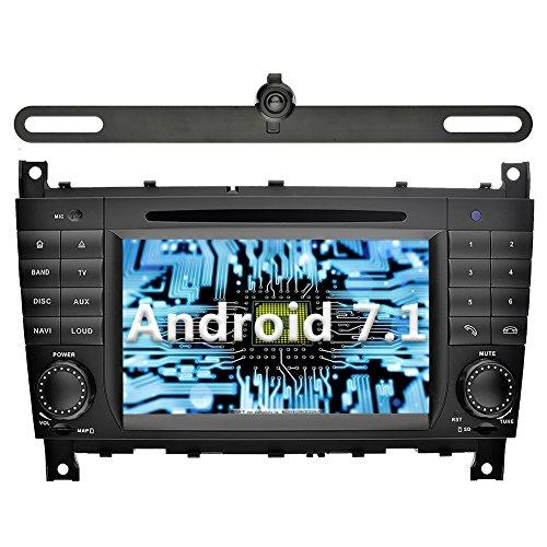 YINUO 7 Zoll 2 Din Android 7.1.1 Nougat 2GB RAM Quad Core Autoradio Moniceiver DVD GPS Navigation 1080P OEM Stecker Canbus Orange Tastenbeleuchtung für Mercedes-Benz C-Class W203 (2004-2007)/ Benz CLK W209(2004-2005) Unterstützt DAB+ Bluetooth OBD2 Wlan (