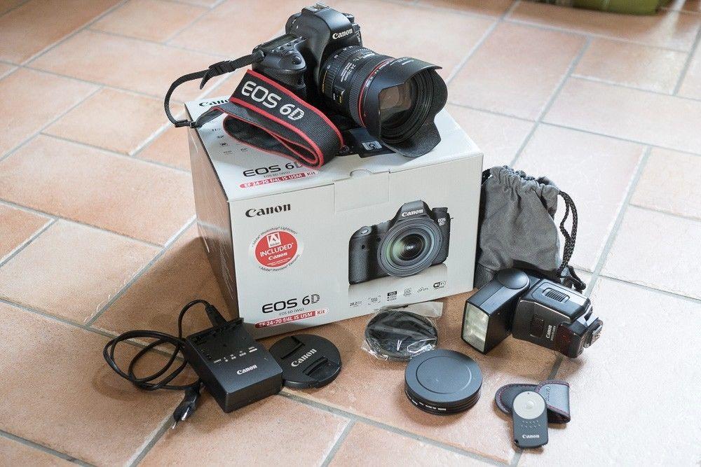 Canon EOS 6D KIt mit Objektiv EF 24-70mm f/4L IS USM mit Blitz und Zubehörpaket