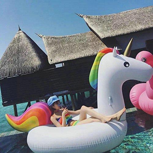 Aufblasbarer Einhorn Pool Floß Schwimmtier Spielzeug, Outdoor-Pool und Beach Swimming Pool Toys Schwimm-Ringe für Erwachsene & Kinder (Klein)