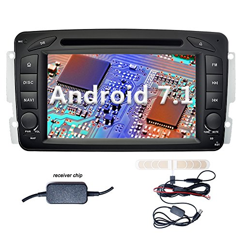 YINUO 7 Zoll 2 Din Android 7.1.1 Nougat 2GB RAM Quad Core Autoradio Moniceiver DVD GPS Navigation 1080P OEM Stecker Canbus Orange Tastenbeleuchtung für Mercedes-Benz C class W203(2000-2005) / Mercedes-Benz Clk -C209 / W209(1998-2004.5) / Mercedes-Benz Via