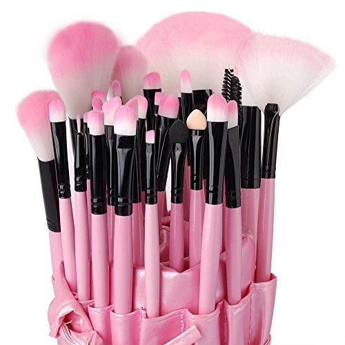 Eleacc 32tlg Make UP Pinsel Pinselset Schminkpinsel Kosmetikpinsel Kosmetik Brush Kunstleder Etui Pink