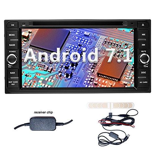YINUO 6.95'' Zoll 2 Din Android 7.1.1 Nougat 2GB RAM Quad Core Autoradio Moniceiver DVD GPS Navigation 7 Farbe Tastenbeleuchtung für Toyota Rav4/Corolla/Vitz (Echo)/Corolla Ex/Vios/Hilux/Terios/Land Cruiser 100 Serie /Prado Unterstützt DAB+ Bluetooth OBD2