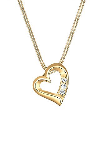 Diamore Damen-Kette mit Anhänger Herz 585 Gelbgold Diamant (0,06 ct) Weiß Brillantschliff 45 cm 0106731616_45