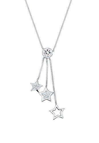 Elli Damen-Kette mit Anhänger 925 Silber Swarovski Kristalle weiß Rundschliff 45 cm 0101273117_45
