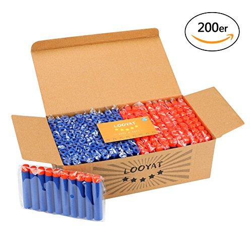 Looyat 200er Darts Schaumstoff Dart Nachfüll Bullets für Nerf N-Strike Elite Series Blasters Kinder Spielzeug Gun Pfeile (Blau)