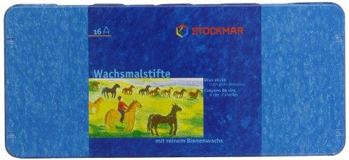 Stockmar 204884216 Wachsmalstifte (16 Stifte, wasserfest, papergewickelt, aus Bienenwachs, im Blechetui)