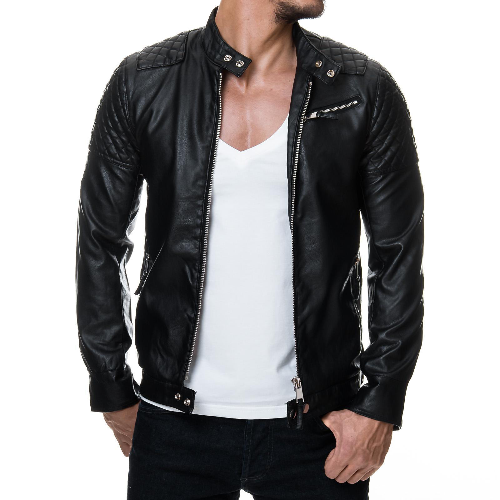 Prestige Homme 08 Herren Biker Jacke PU Kunst Lederjacke Gesteppt Club S-XXL