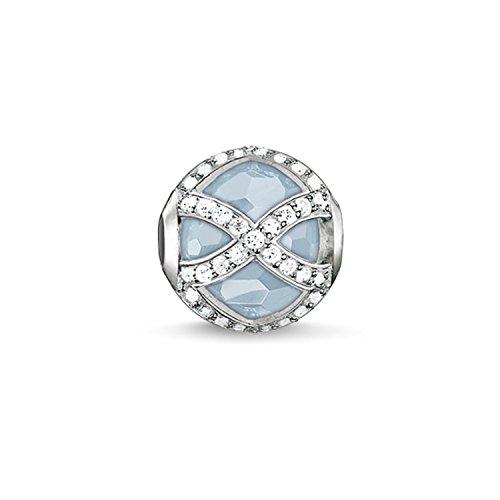 Thomas Sabo Damen-Bead Karma Beads 925 Sterling Silber Zirkonia  weiß Milky Aquamarine hellblau K0145-694-31