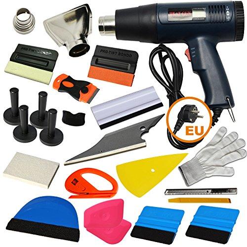 Ehdis 16 Arten von Auto Vinyl Wrap Tool Fenster Tint Kit für Auto Film Tönung Set Anwendung Installation oder Entfernung mit LCD Display Heat Gun