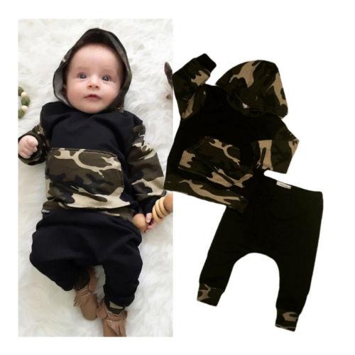 2Tlg Set Camouflage Baby Jungen Kapuzenpullover Hose Outfits Kleidung Gr. 0-2J