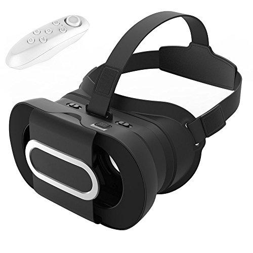 3D VR Headset Virtual Reality Universalle Brille Box für Handy Virtuelle Realität für iPhone 6S 6Plus 5S, HTC One M, Alle 4.6-6.0 Zoll Handy, mit Fernbedienung für 3D-Filme Video kompatibel mit iOS Andriod