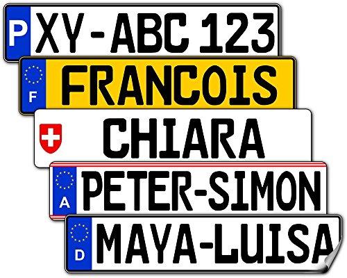 Satz Nummernschild Aufkleber (2 Stück) für vorne und hinten (Deutschland, ca. 26 x 5,5 cm) - Mit Name/Wunschtext
