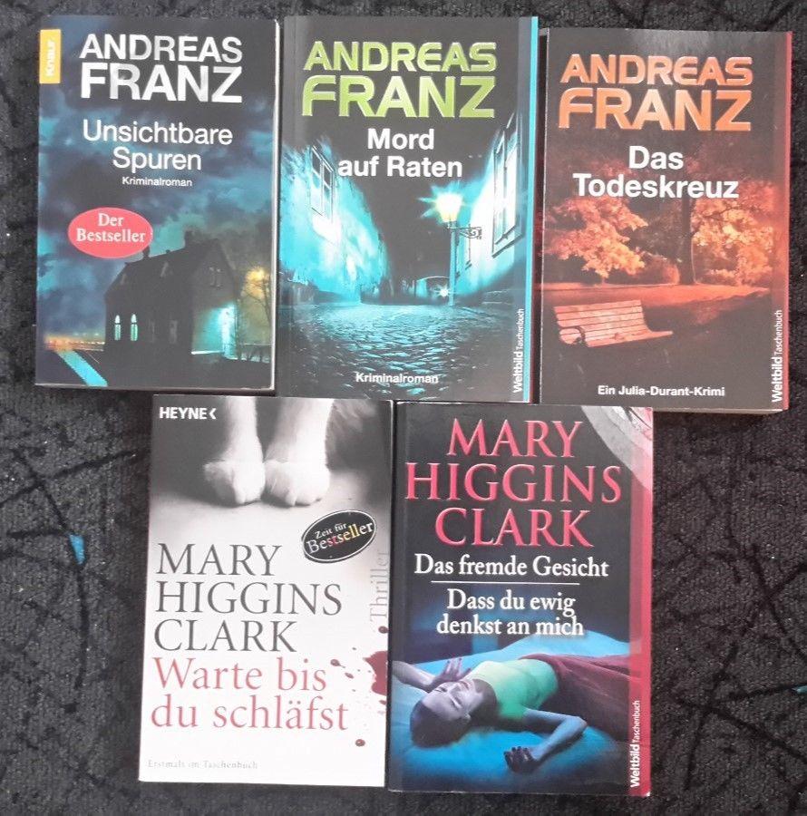 Bücher Paket 5 St.,3 Kriminalromane von A. Franz, 2 Thriller Mary Higgins Clark