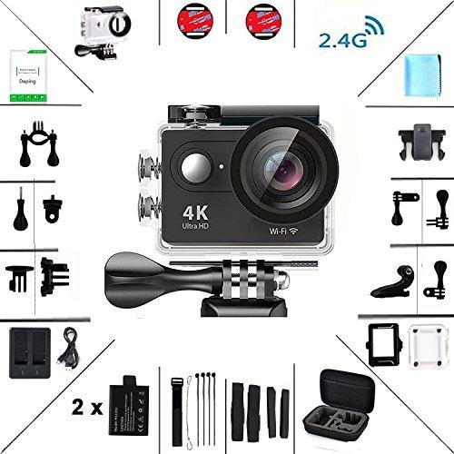 Action Kamera 4K HD Wifi Sport Kamera mit Zubehör-Kit 2.0 LCD Wifi Sport Kamera 30M 1080P 60fps 170° mit Transporttasche 2 Batterien