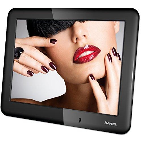 Hama Digitaler Bilderrahmen (Slimline Basic, 20,32 cm (8 Zoll), SD/SDHC/MMC-Kartenslot, mit Nachtmodus, Uhr und Kalender) schwarz