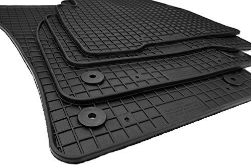 Gummimatten VW Touran II 5T ab 2015 Original Qualität Fußmatten R-Line Gummi Allwetter Matten 4-teilig schwarz Druckknopf rund