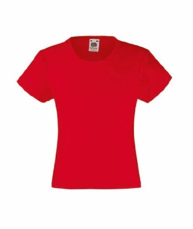 Fruit of the Loom Mädchen T-Shirt SS079B 152,Rot - Rot