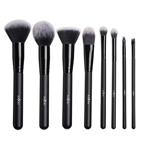 Make Up Pinsel Set Anjou 8pcs Professionelles Schminkpinsel Kosmetikpinsel Lidschatten Gesichtspinsel Eyeliner, schwarz, mit Beutel & luxuriösem Geschenkbox