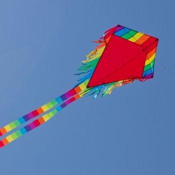 Kinderdrachen - Maya Eddy RED - Einleiner für Kinder ab 3 Jahren - Abmessung: 65x74cm - inkl. 80m Drachenschnur und 2x250cm Streifenschwänze