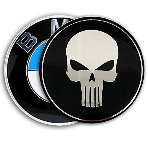 BMW TUNING EMBLEM 82mm Abdeckung by Emblemdeluxe® Zubehör zum kleben- Motiv Totenkopf schwarz/chrom Aluminium für Motorhaube und Kofferraum/Heckklappe-E30, E32, E34, E36, E39, E46, E60, E87, E90, E91, X3, X5 1er, 2er, 3er, 4er, 5er kein Aufkleber kein Sti