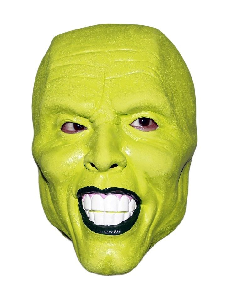 'The Mask' Green latex mask Jim Carrey Costume Fancy Dress Halloween film loki