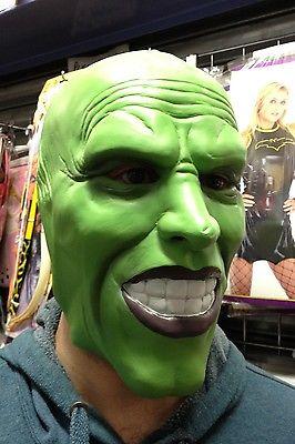 'The Mask' Dark Green latex mask Jim Carrey Costume Fancy Dress Halloween film