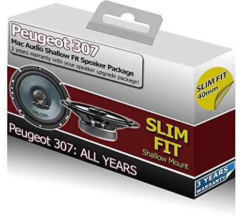 Peugeot 307Vordertür-Lautsprecher Mac Audio Slim Flach Fit Auto-Lautsprecher 200W