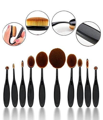 CINEEN Oval Make Up Pinsel 10 Stück Premium Pinselset Make-up Face Powder Foundation Creme Eyeliner Lip Rouge Bürste Kosmetik Zahnbürste Curve Pinsel set