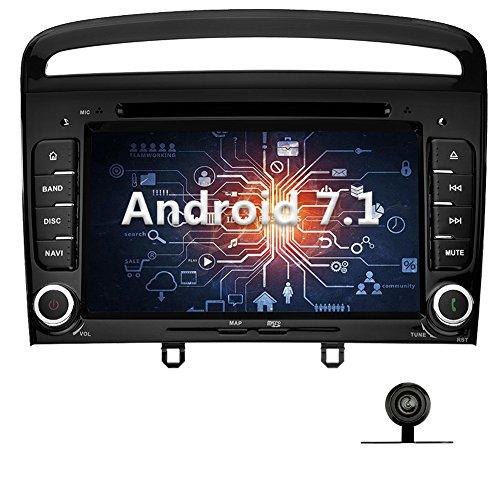 YINUO 7 Zoll 2 Din Android 7.1.1 Nougat 2GB RAM Quad Core Autoradio Moniceiver DVD GPS Navigation 1080P OEM Stecker Canbus Orange Tastenbeleuchtung für Peugeot 308 2011 2012 2013 Unterstützt DAB+ Bluetooth OBD2 Wlan Schwarz (Autoradio mit Kamera 1)