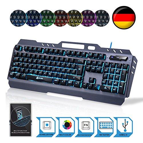 KLIM Lightning - NEU - hybrid halbmechanische Tastatur QWERTZ DEUTSCHE + sieben verschiedene Farben + 5-Jahre Garantie - Metallstruktur - Gamer-/Gaming-Tastatur für Videospiele