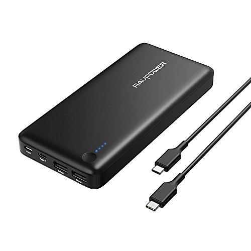 RAVPower 26800mAh Powerbank Type-C Anschluss Externer Akku mit Type C Kabel (3 Anschlüsse, 30W USB C Ausgang, Zwei 2.4A iSmart 2.0 USB Anschlüsse) für Smartphones, Macbook 12