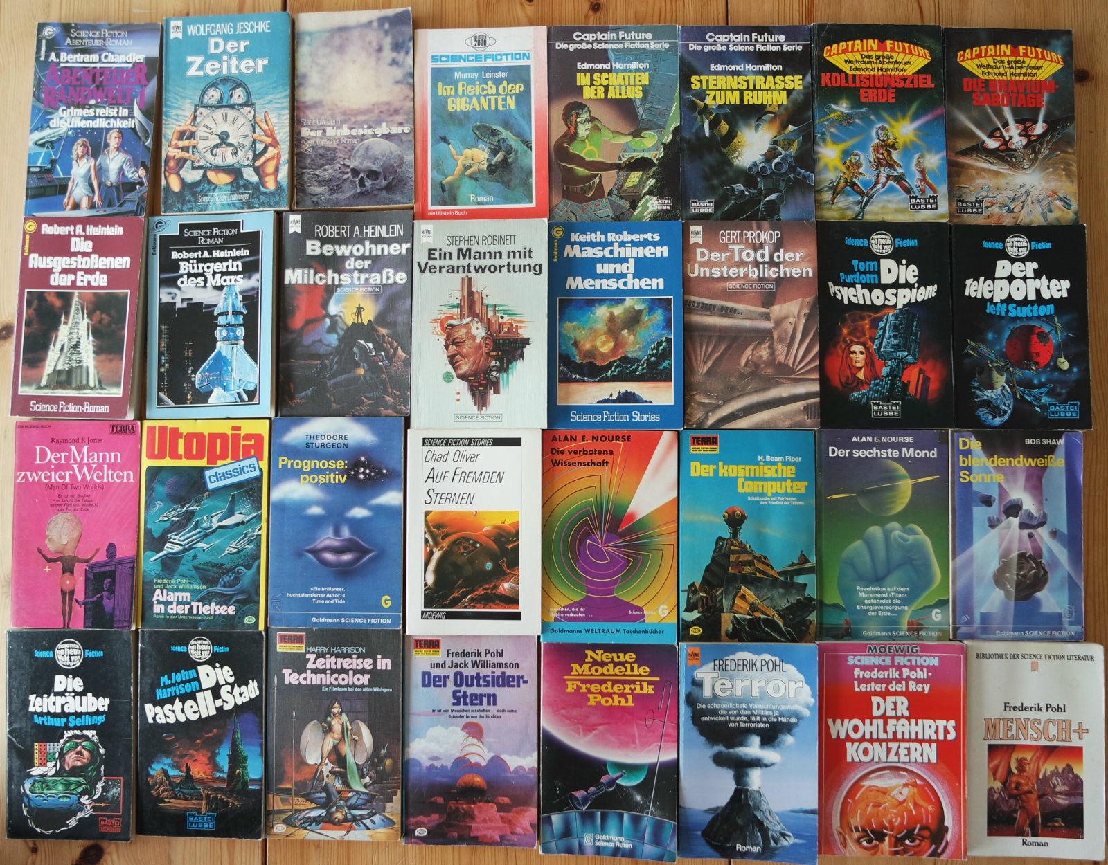 32x Science Fiction Romane Sammlung - Buchpaket Heinlein Pohl etc.