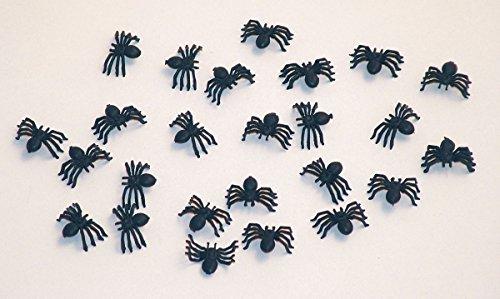 25 Halloween Deko Spinnen 2cm schwarz
