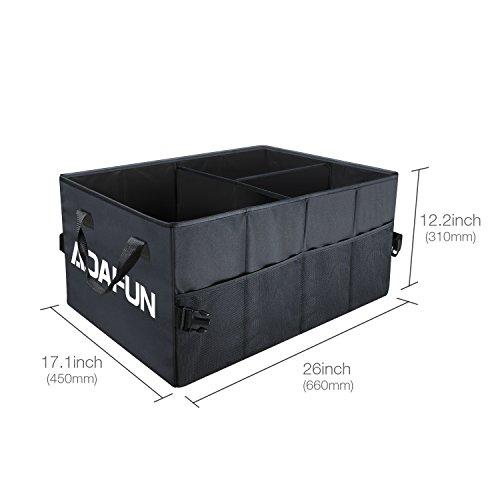 Aoafun Premium Quality Auto Trunk Organizer (65 * 47 * 32CM), Zusammenklappbarer Speicher Organizer Tasche mit Multi-Fächern, umweltfreundlicher Premium Cargo Storage Container, für Auto, SUV, Truck, Minivan mit Dreieck Warnung (Schwarz)