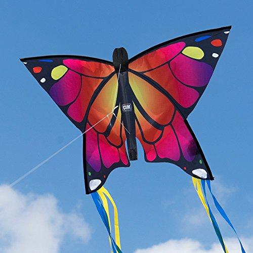 Schmetterling Drachen - Butterfly Pink - Einleiner Flugdrachen für Kinder ab 3 Jahren - 58x40cm - inkl. Drachenschnur - mit 195cm langen Bogenschwanz-Bändern