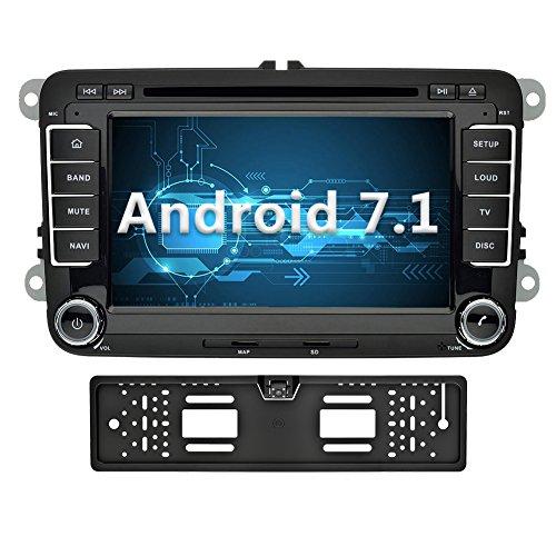 YINUO 7 Zoll 2 Din Android 7.1.1 Nougat 2GB RAM Quad Core Autoradio Moniceiver DVD GPS Navigation 1080P OEM Stecker Canbus 7 Farbe Tastenbeleuchtung für VW Volkswagen SEAT Skoda Golf Polo Jetta Passat Touran Unterstützt DAB+ Bluetooth OBD2 Wlan (Autoradio