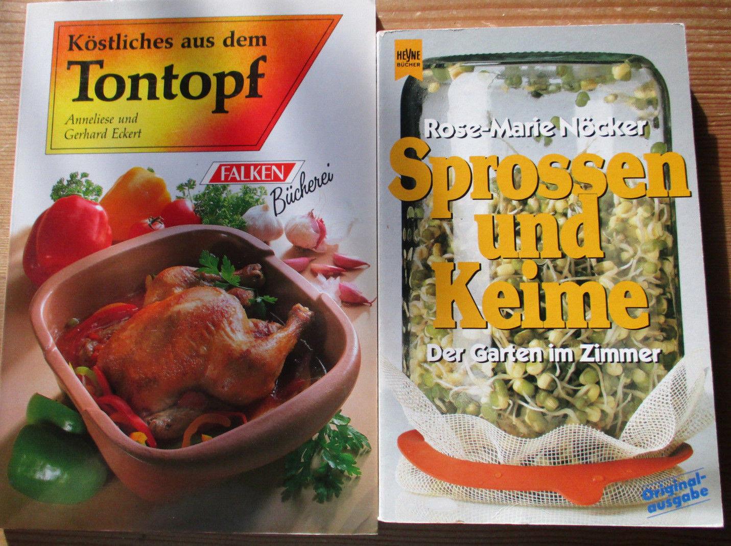 2 Bücher Tontopf & Sprossen und Keime Kochen .s.Bild.