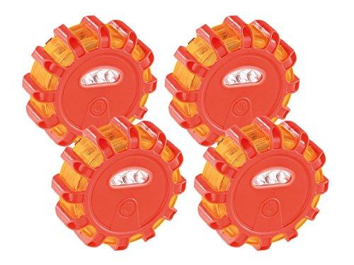 Lescars Blinklicht: Rundum-Warnblinkleuchte mit roten & weißen LEDs, 5 Leuchtmodi, 4er-Set (Notfall Sos Warnblinkleuchten)