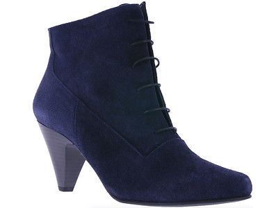 heine Marine Damen Schuhe Echtleder Stiefelette Ankle-Boots Blau